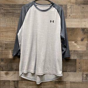 Under Armour Loose 3/4 Sleeve Tee Shirt XL Gray